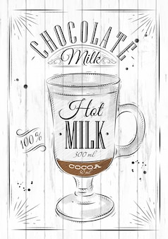 Poster coffee chocolate milk in vintage style drawing on wood background