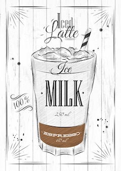 Poster coffee iced latte in vintage style drawing on wood background