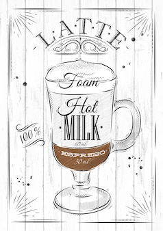 Poster coffee latte in vintage style drawing on wood background