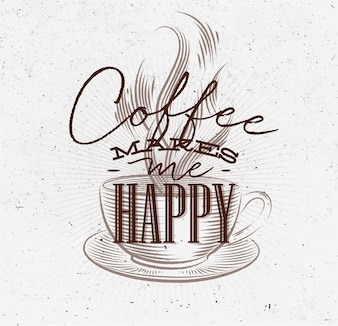 Poster coffee makes me happy brown