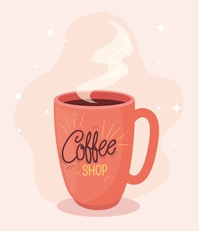 Poster of coffee shop with mug ceramic illustration design