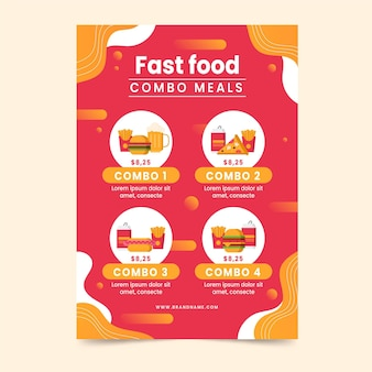 Poster for combo meals