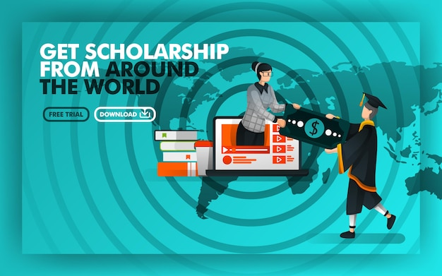 Poster concept get scholarship from around the world
