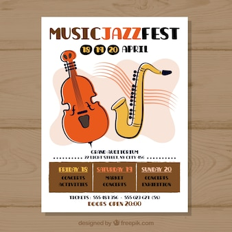 Poster concept for music party with trumpet and violin
