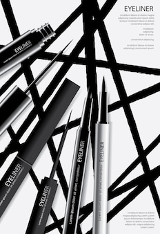 Poster cosmetic eyeliner with packaging illustration