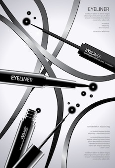 Poster cosmetic eyeliner with packaging vector illustration