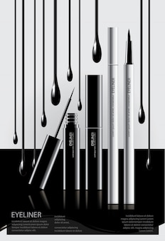 Poster cosmetic eyeliner with packaging