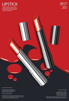 Poster cosmetic lipstick illustration