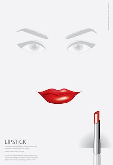 Poster cosmetic lipstick vector illustration