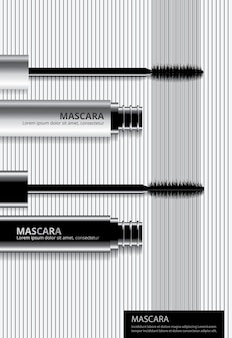 Poster cosmetic mascara with packaging