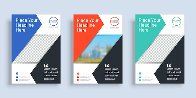 Poster cover book design template with space for photo background.