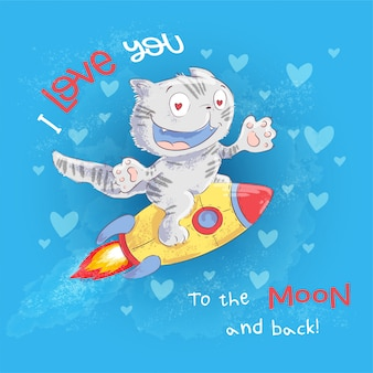 포스터 귀여운 고양이 로켓에 날아간 다. 손을 그리기. 벡터 일러스트 레이 션 만화 스타일