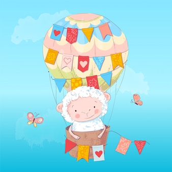 Poster cute lamb in a balloon. hand drawing. vector illustration of cartoon style
