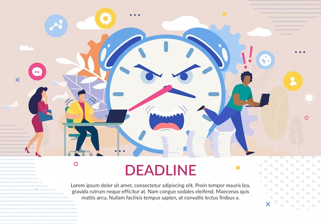 Poster in deadline theme with stressed people