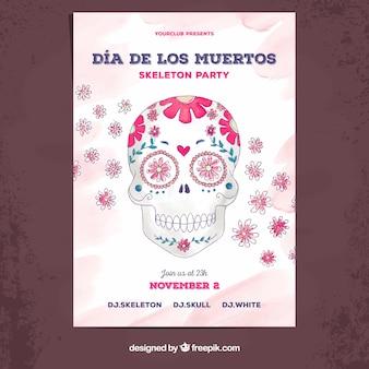 Poster del giorno dei morti con il cranio disegnato a mano