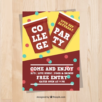 Poster decorated with dots for a college party