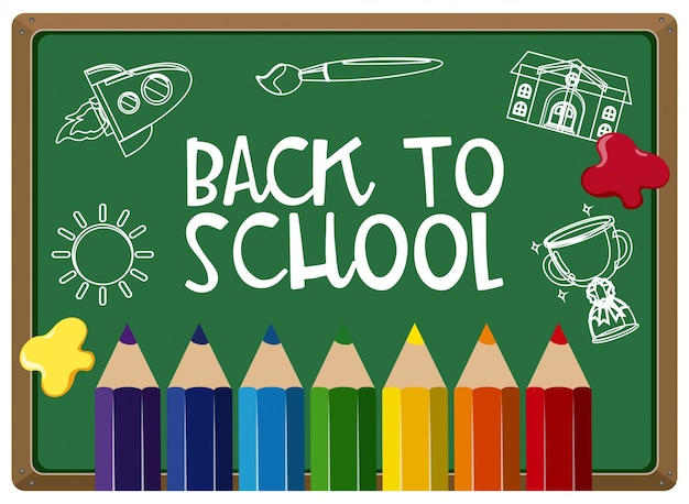 Poster design for back to school with colorpencils