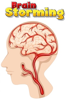 Poster design for brain storming with human brain