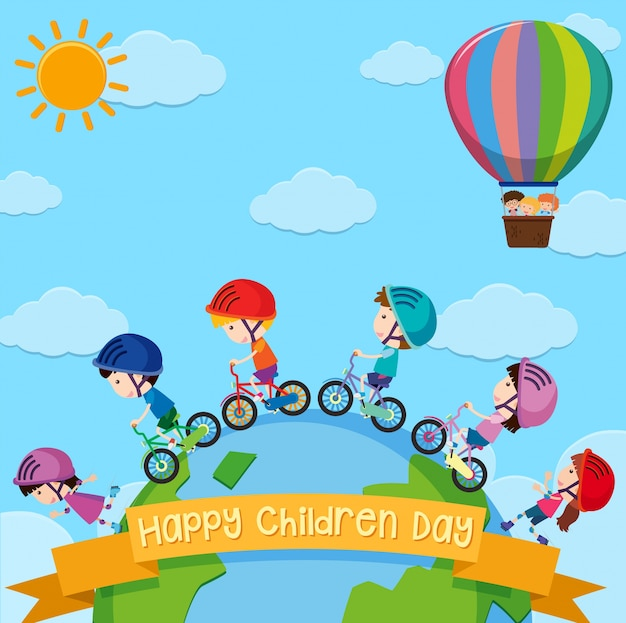 Poster design for children day with kids around the world