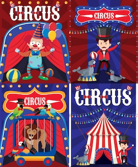 Poster design for circus with clown and trainer