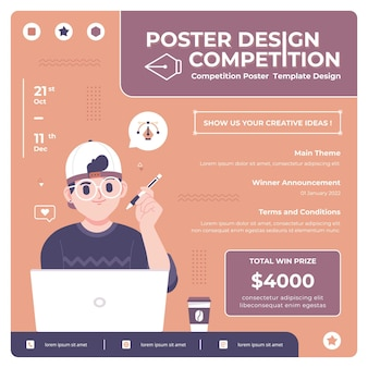 Poster design contest vector template