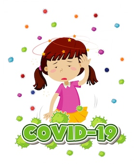 Poster design for coronavirus theme with girl and headache