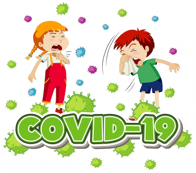 Poster design for coronavirus theme with two sick children