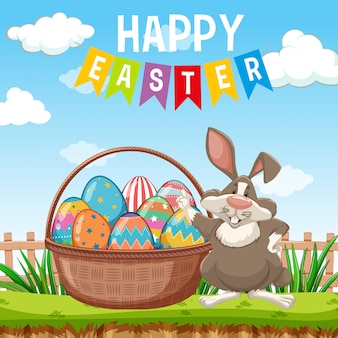 Poster design for easter with easter bunny and eggs in garden