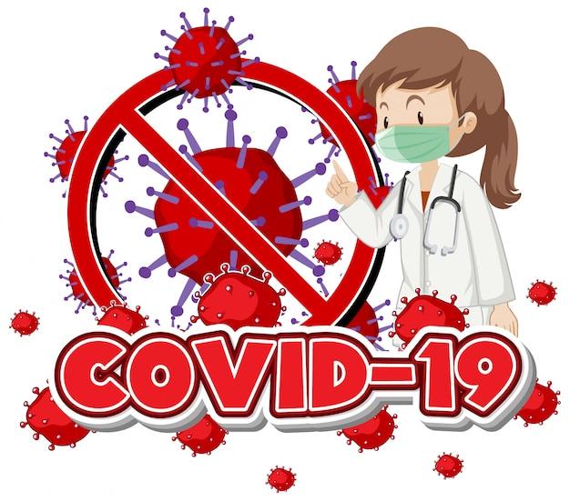 Дизайн плаката на тему коронавируса с врачом и вирусными клетками