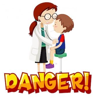 病気の少年と医者とコロナウイルステーマのポスターデザイン