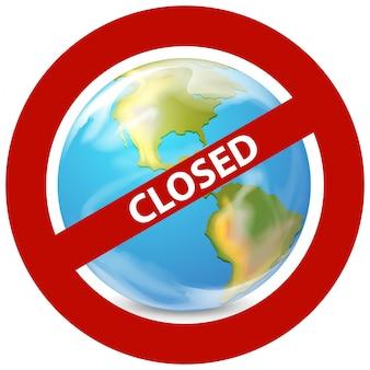世界が閉鎖されているコロナウイルステーマのポスターデザイン