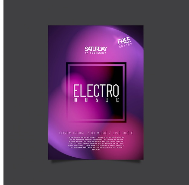 エレクトロミュージックパーティーのためのポスターデザイン