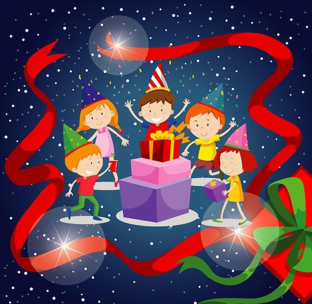 幸せな子供たちと新年のポスターデザイン