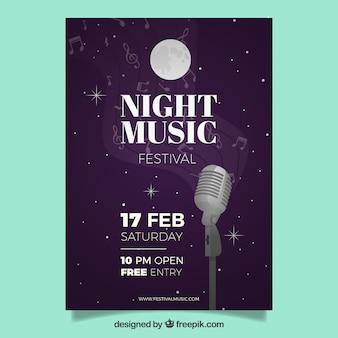 Дизайн плаката для фестиваля ночной музыки Бесплатные векторы