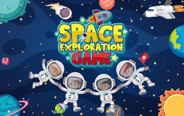 Дизайн плаката для освоения космоса с космонавтами в космосе