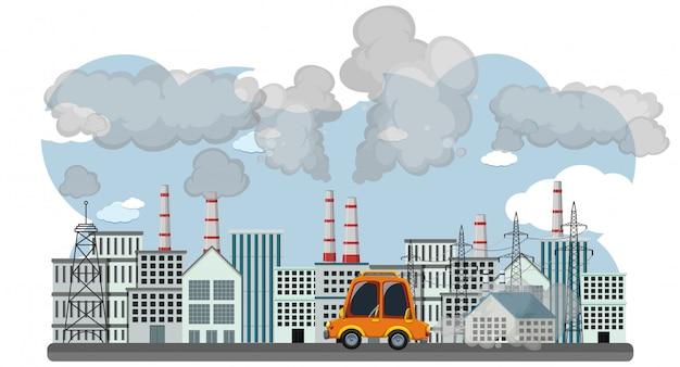 車や工場の建物からの煙で停止汚染のポスターデザイン