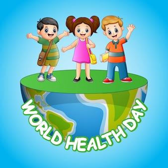 Дизайн плаката ко всемирному дню здоровья со счастливыми детьми