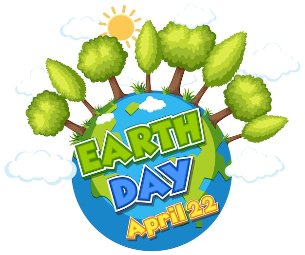 Poster design for happy earth day with green forest on earth