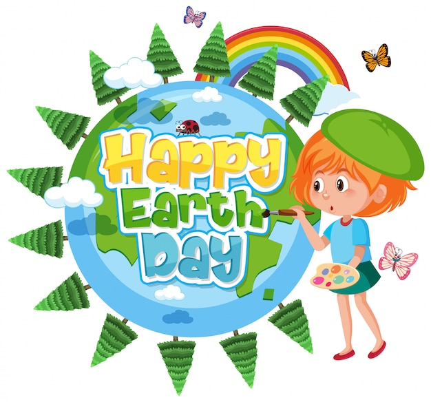 Poster design for happy earth day with happy girl painting