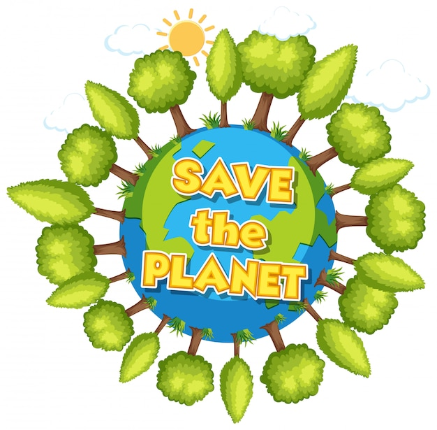 Poster design for happy earth day with many trees on earth