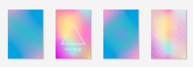Современный дизайн плаката. элегантный буклет, плакат, годовой отчет, макет папки. голографический. современный дизайн плаката с минималистскими геометрическими линиями и формами.