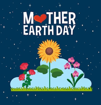 Poster design for mother earth day with beautiful flowers