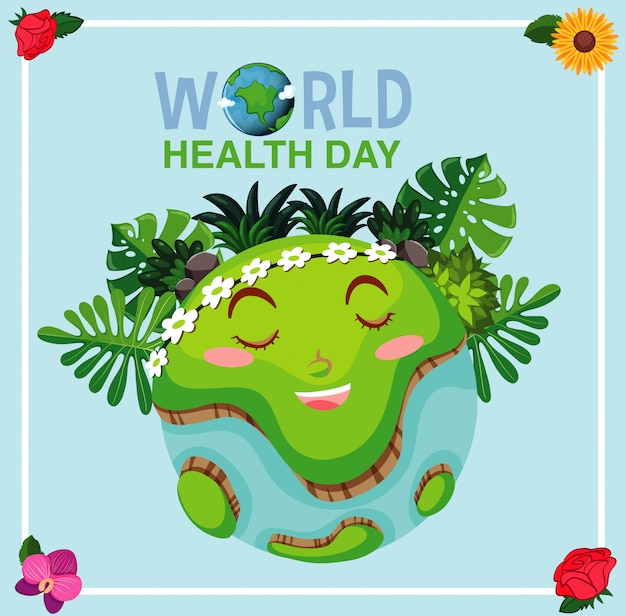 Poster design for mother earth day with big smile on earth