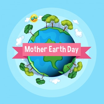 Poster design for mother earth day with many trees on earth