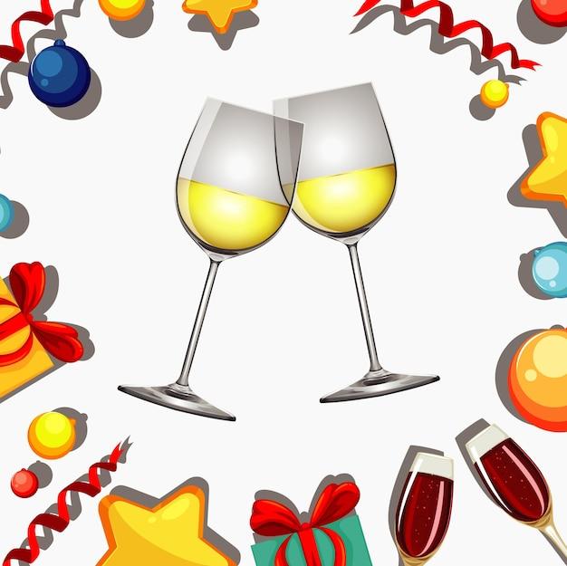 Design del poster per il nuovo anno con due bicchieri di vino