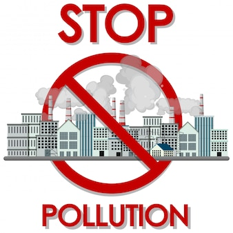 Poster design for stop pollution with factory buildings and smoke