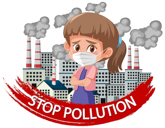 Poster design for stop pollution with girl wearing mask