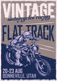 Poster design with classic man on motorcycle