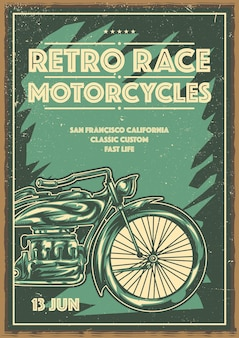 Дизайн плаката с классическим мотоциклом