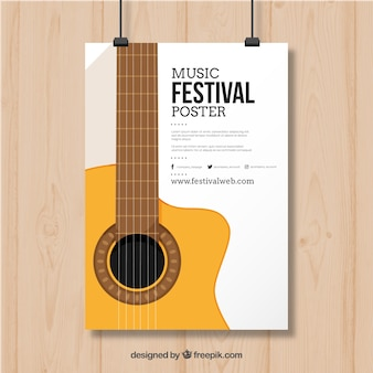 Poster design with guitar for music festival